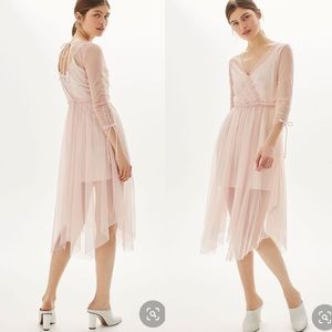 Topshop Wrap Mesh Midi Dress